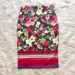Eci New York Floral Stretch Pencil Skirt